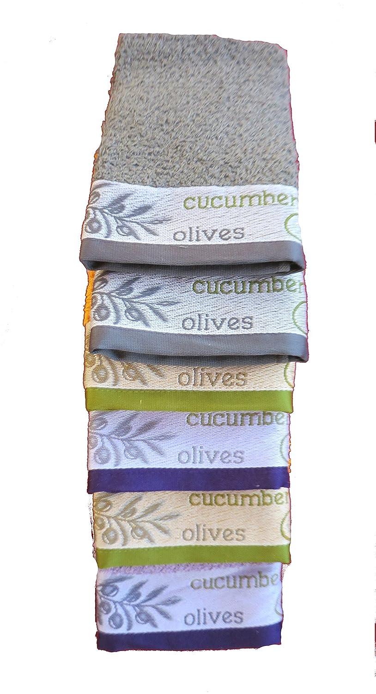 Lote de 6 paños de cocina rizo 100%algodón ref.ACEITUNAS 50x50cm, fabricados en Portugal.: Amazon.es: Hogar