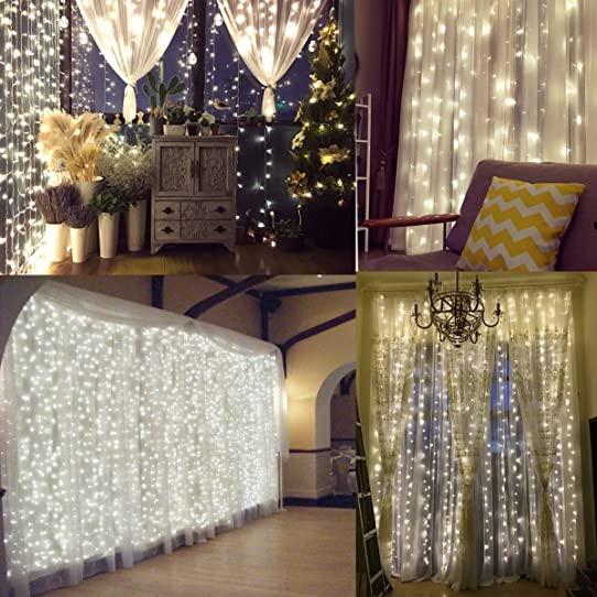 Naisidier Window Curtain String Lights Starry Fairy Icicle Lights, 9.8ft X  9.8ft,