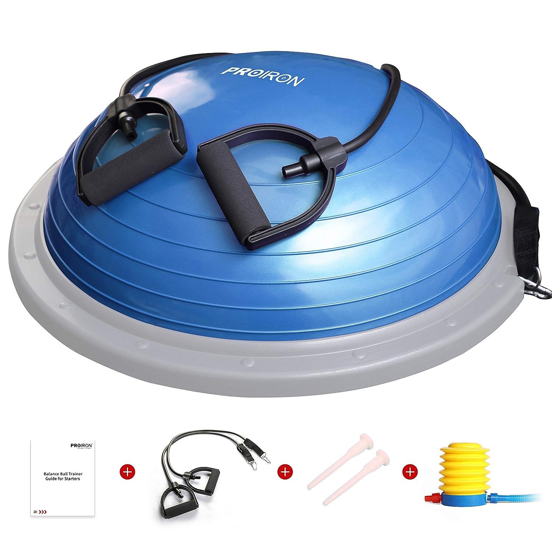 PROIRON Balance Trainer Half Ball Fitness /Ø 60cm Pesa 5 kg Soportar 300 kg con Bomba de pie Bandas de Resistencia y Manual de Entrenamiento para Entrenamiento Central