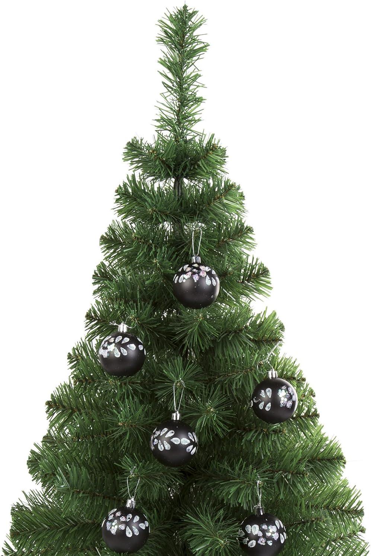 Robelli Black Glitter Floral Sequin 6cm Christmas Tree Baubles 18 Pack