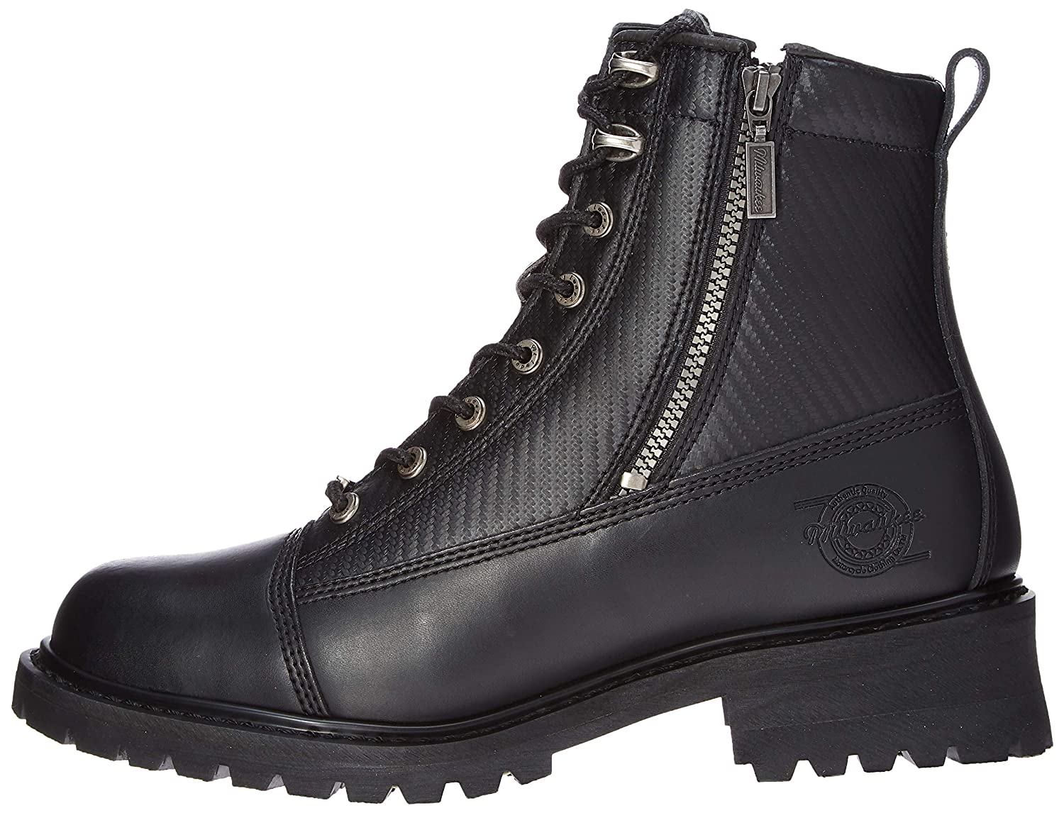 Black, Size 8EE Milwaukee Motorcycle Clothing Company Accelerator Leather Mens Motorcycle Boots