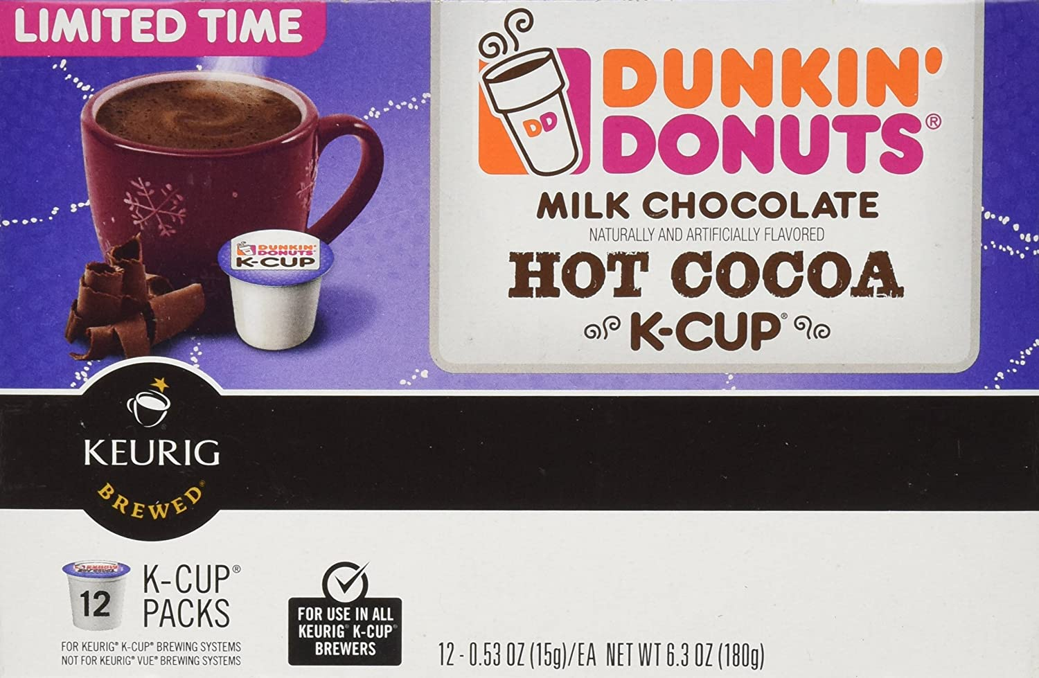Dunkin Donuts Milk Chocolate Hot Cocoa K-cups - Cocoa for Keurig K ...