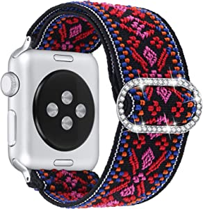 Dilando Compatible with Apple Watch Band Elastic Adjustable Stretch 42mm 44mm Soft Nylon Strap Women Replacement Stylish Wristband Bracelet Gift for iWatch SE Series 6/5/4/3/2/1 (AztecRed, 42mm/44mm)