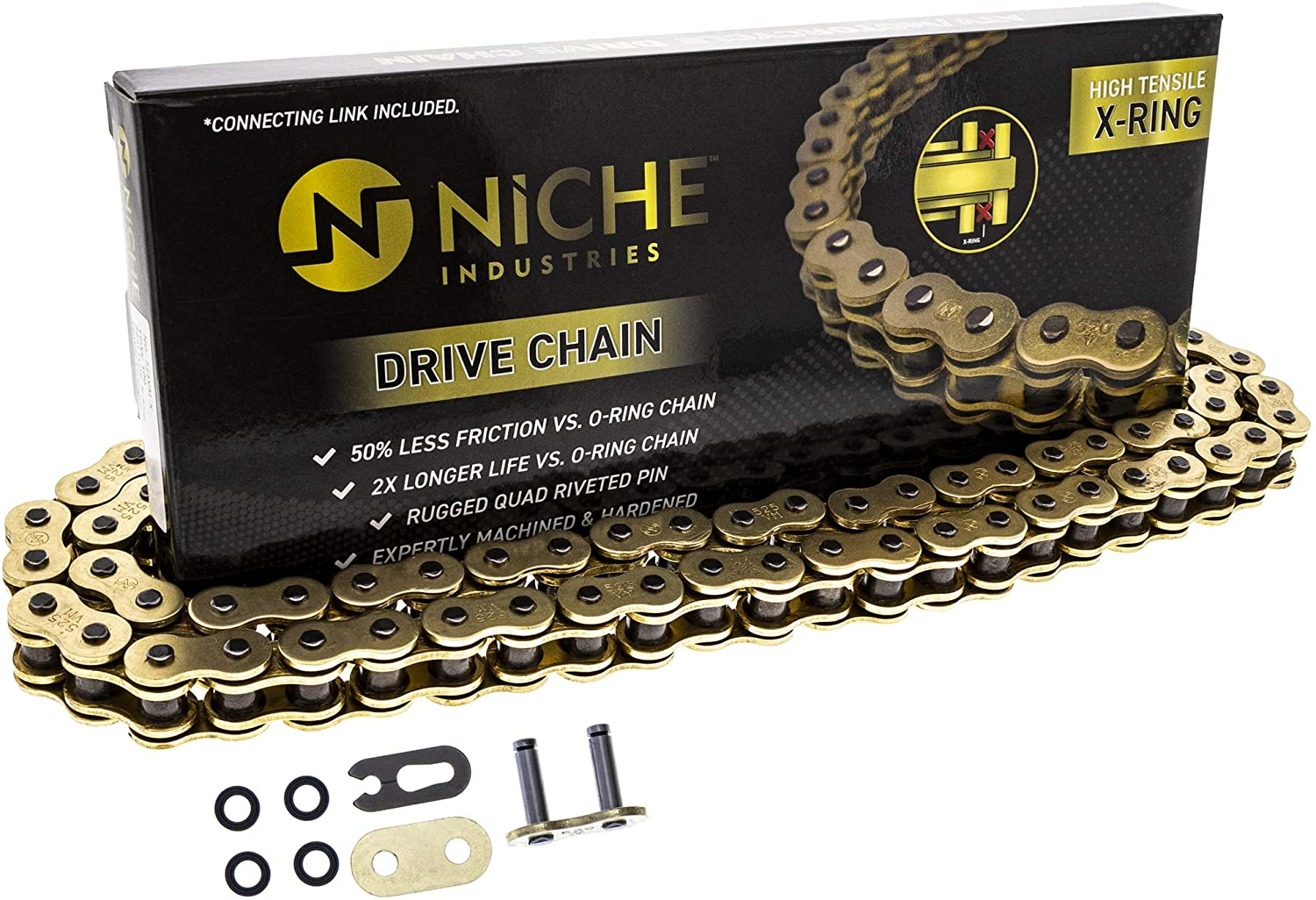 RK Racing Chain GB520XSO-106 106-Links Gold X-Ring Chain with Connecting Link