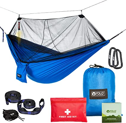 Rain Fly Tree Straps and Compression Sack Heavy Duty Double /& Single Hammocks for Outdoor Travel Survival /& Backpacking. Lightweight All in One Camping Hammock Bundle Set with Mosquito Bug Net