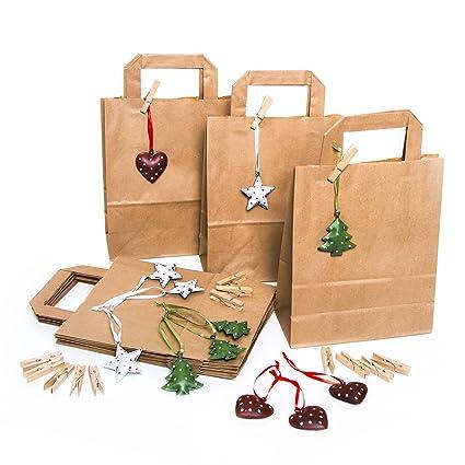 24 pequeñas bolsas de papel marrón 18 x 22 x 8 cm + 24 ...