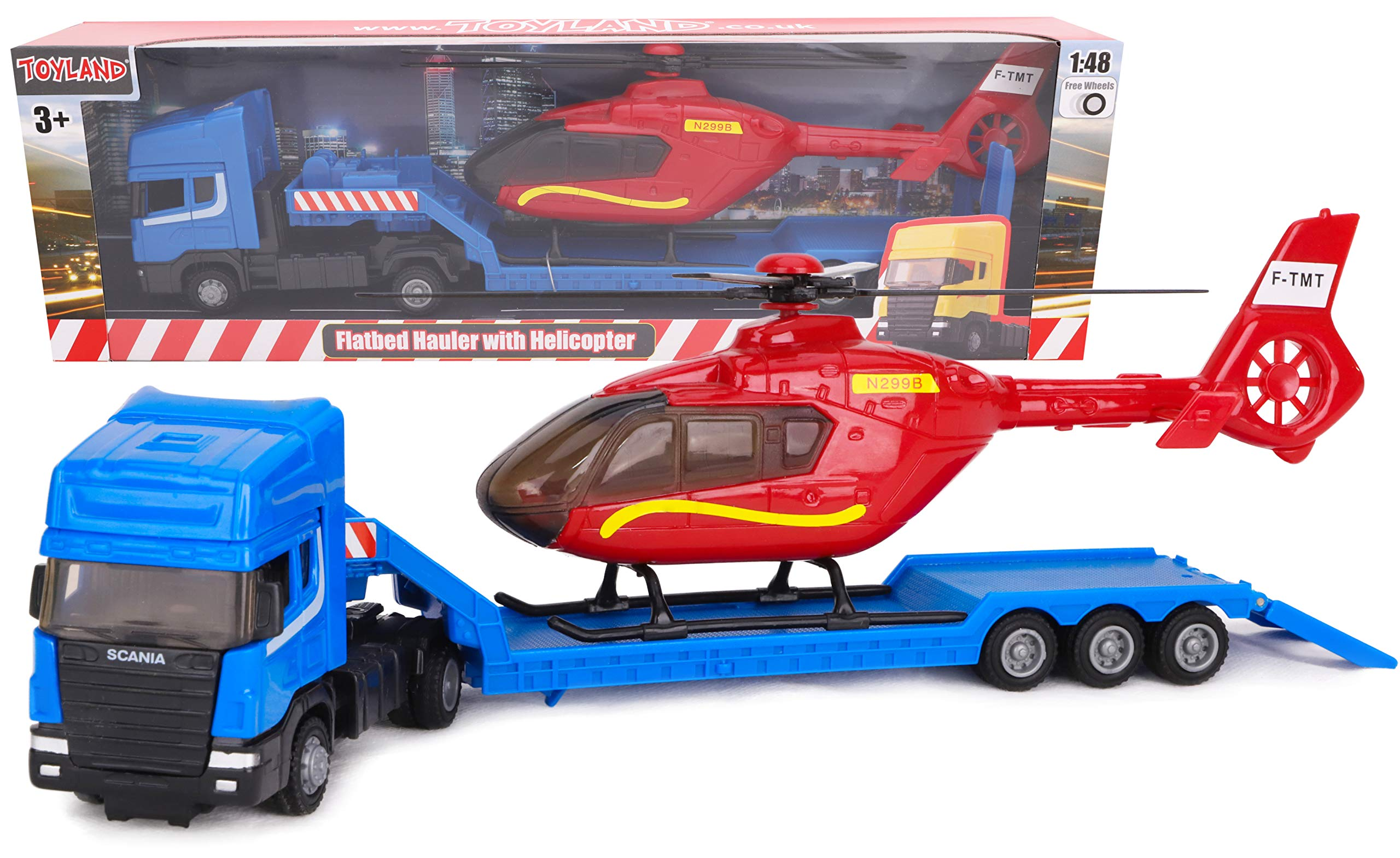 Toyland® Scania Flatbed Hauler With Helicopter - 1:48 Scale - Free Wheel - Transport Vehicle Toys - Vehicle Collectables - Boys Toys