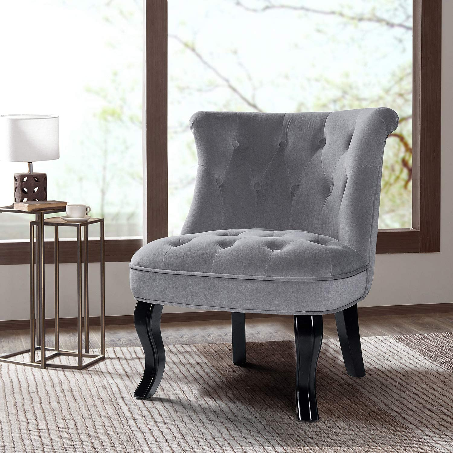 Blush Pink Pink Upholstered Chair//Jane Tufted Velvet Armless Accent Chair with Black Birch Wood Legs