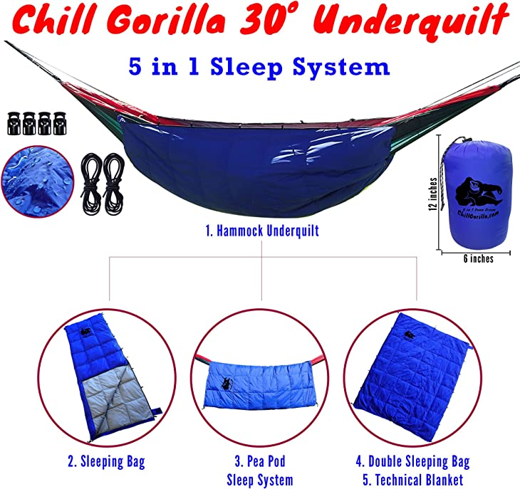 Chill Gorilla 30°F 800 Fill Power Down UNDERQUILT, Sleeping Bag