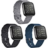 KIMILAR 3-Pack Bands Compatible with Fitbit Versa/Versa 2/Versa Lite Edition, Large Small Soft Woven Fabric Breathable Access