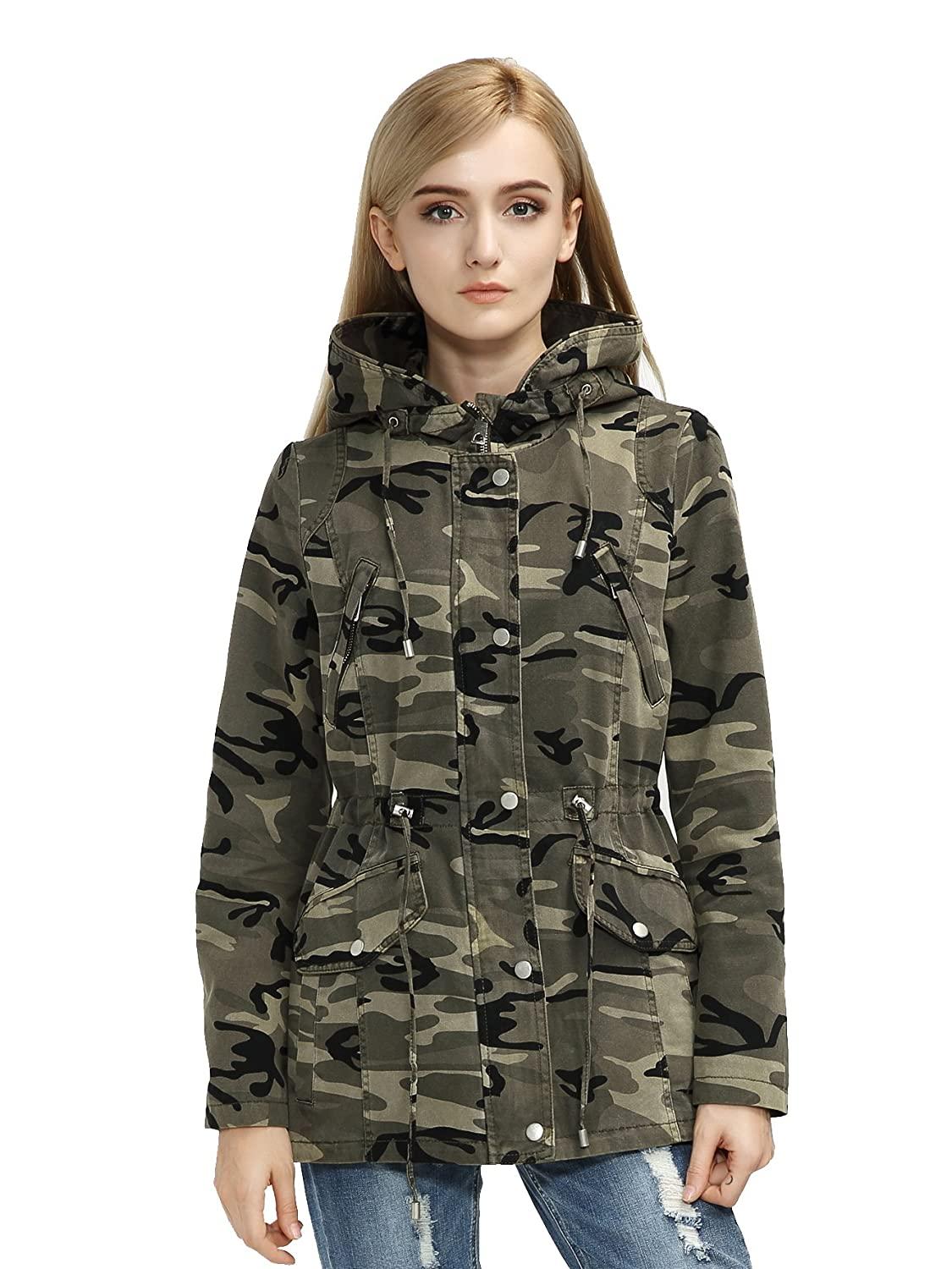 Bellivera Women's Casual Lightweight Parka Army Military Utility Hoodie Jacket