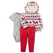 Carter's Baby Girls' 3 Piece Cardigan Set (Baby) (newborn, red heart)