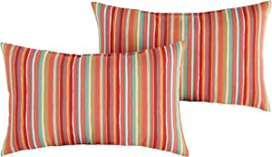South Pine Porch Outdoor Watermelon Stripe 19x12-inch Rectangle Accent Pillow, Set of 2