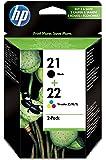 HP 21-22 - Pack de ahorro de 2 cartuchos de tinta Original HP 21 Negro , HP 22 Tricolor para HP DeskJet, HP OfficeJet, HP PSC, HP Fax