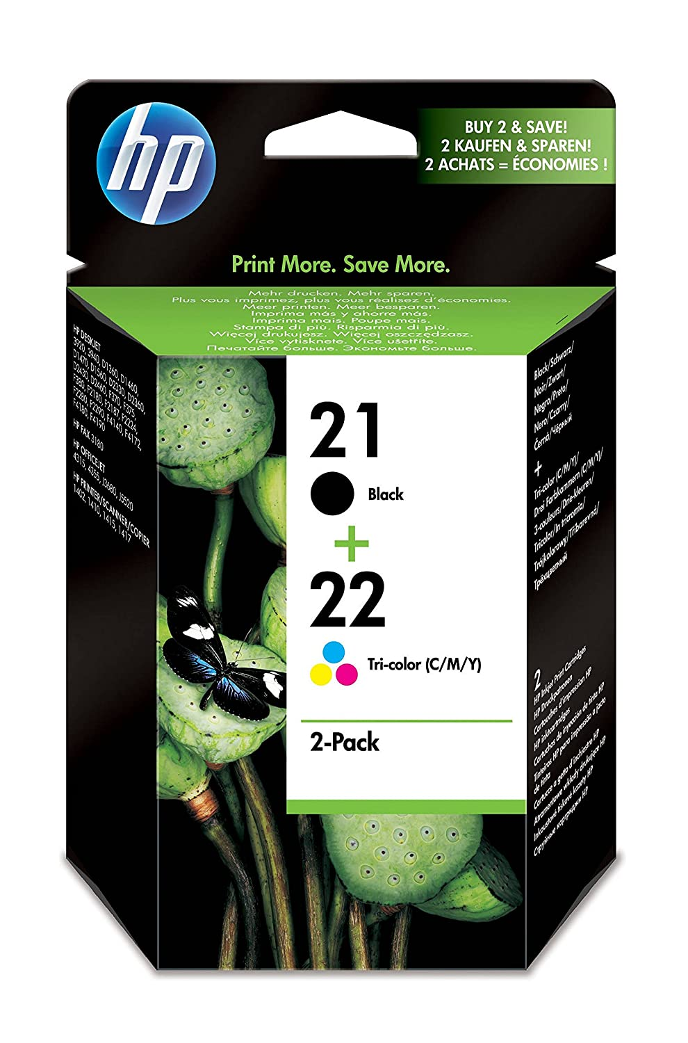 HP 21 Black/22 Tri-color 2-pack Original Ink Cartridges (SD367AE):  Amazon.co.uk: Office Products