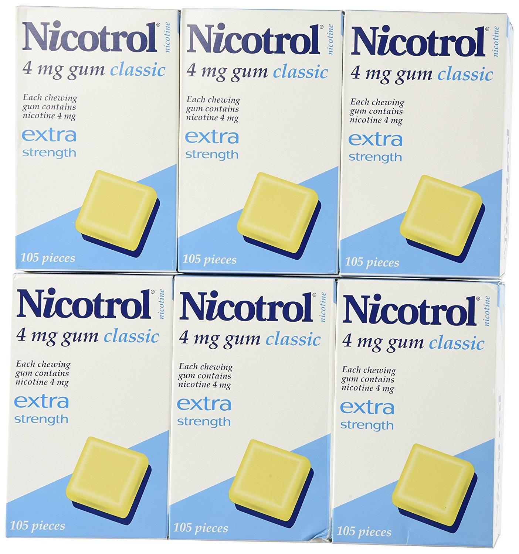 6 Boxes Nicotrol Nicotine Gum 4mg Original Classic 630 Pieces