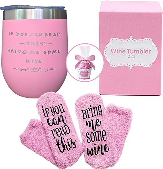 Amazon Com Wine Tumbler With Funny Saying Funny Wine Tumbler And Wine Socks Gift Set Funny And Cool Gift Idea For Women Mom Grandma Wife Daughter Wine Lover As Birthday Christmas Gift Kitchen
