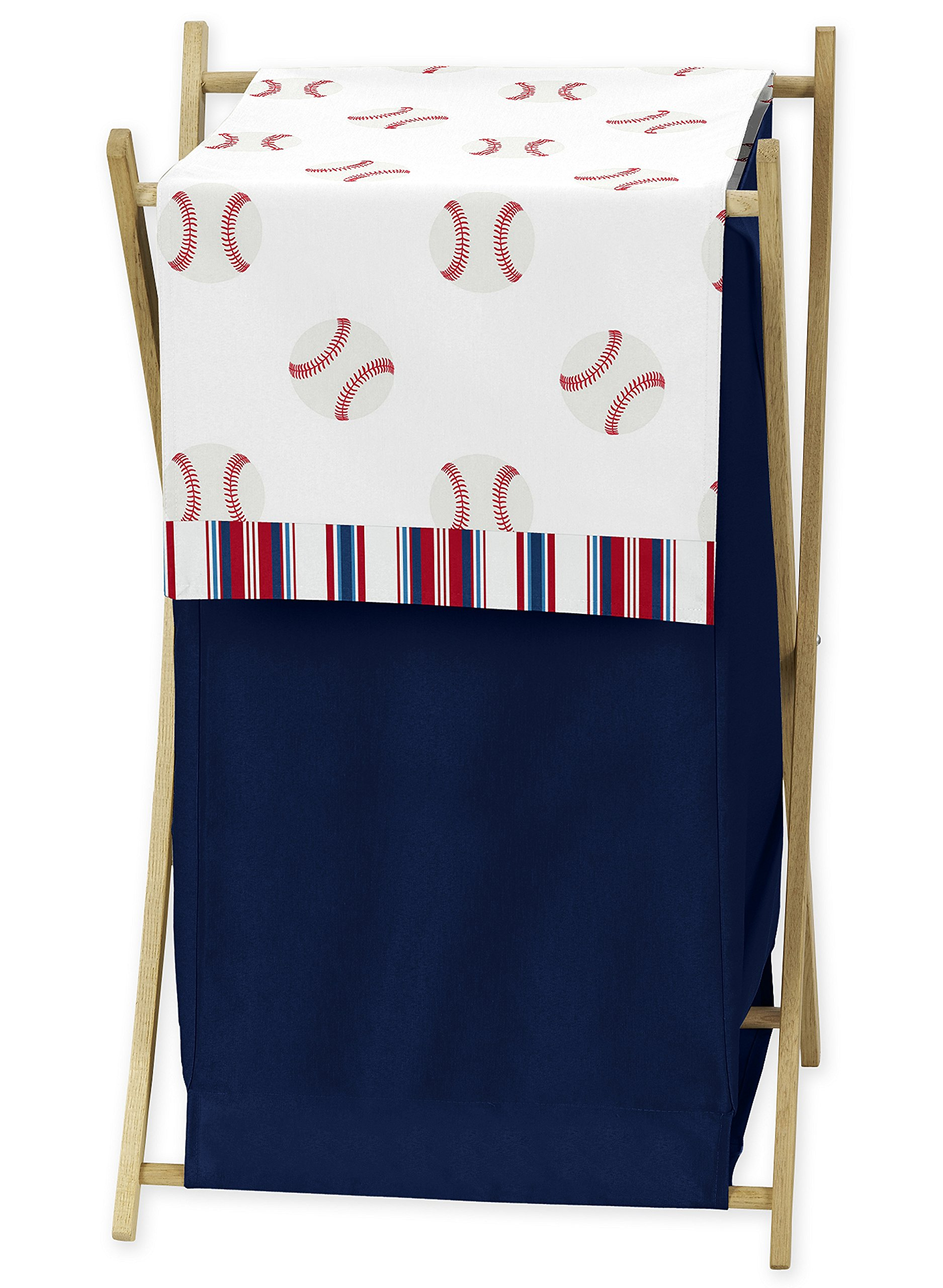 Sweet Jojo Designs Red, White and Blue Baby Kid Clothes Laundry Hamper for Baseball Patch Sports Collection by Sweet Jojo Designs