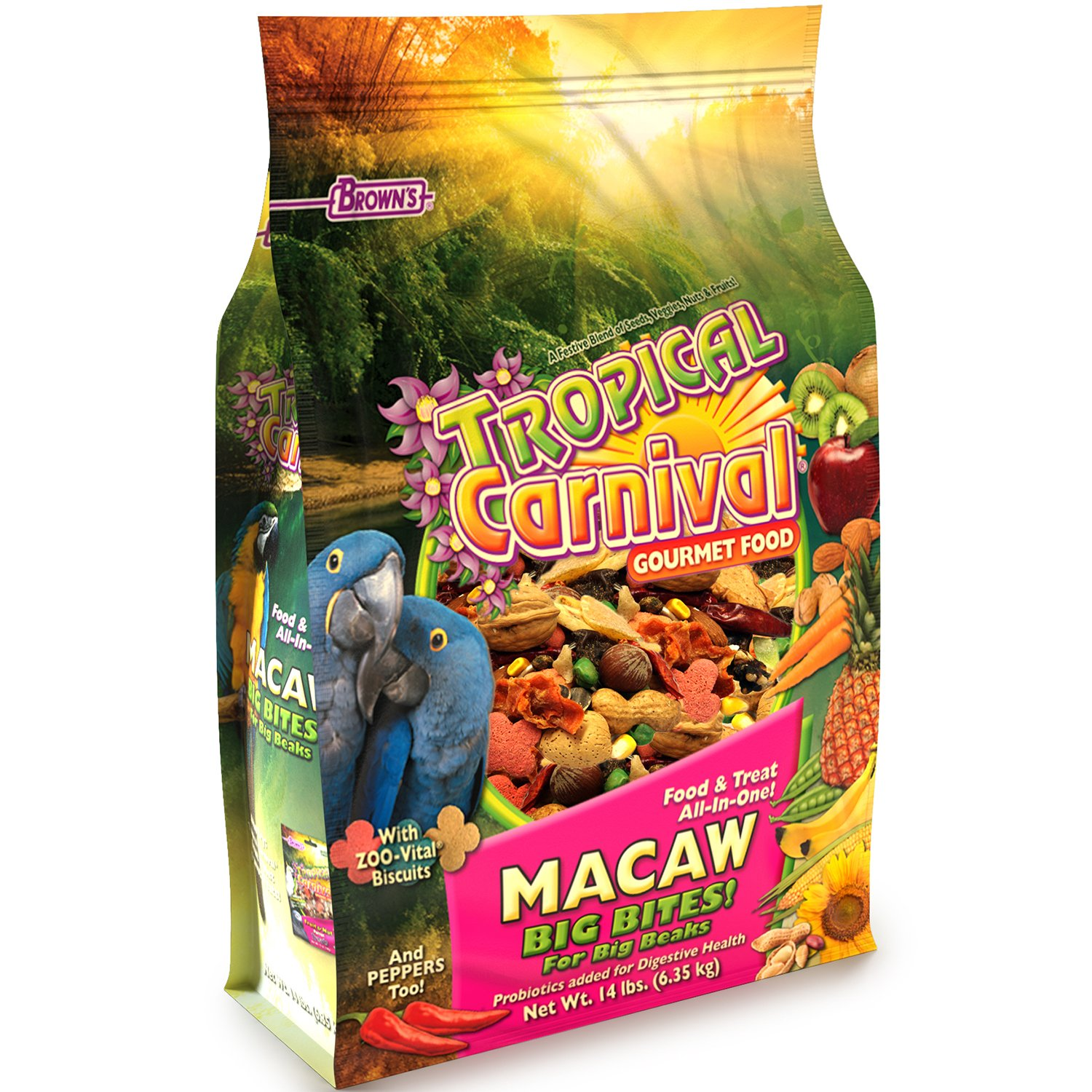 F.M. Brown'S Tropical Carnival Gourmet Macaw Food Big Bites For Big Beaks - Vitamin-Nutrient Fortified Daily Diet With Probiotics For Digestive Health by Tropical Carnival