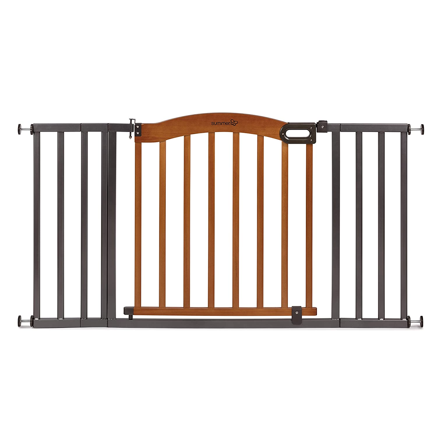 Summer Decorative Wood & Metal 5 Foot Pressure Mounted Baby Gate, Brown/Black