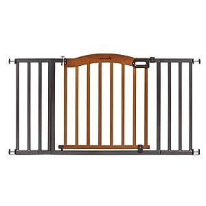Summer Decorative Wood & Metal 5 Foot Pressure Mounted Baby Gate, Brown/Black