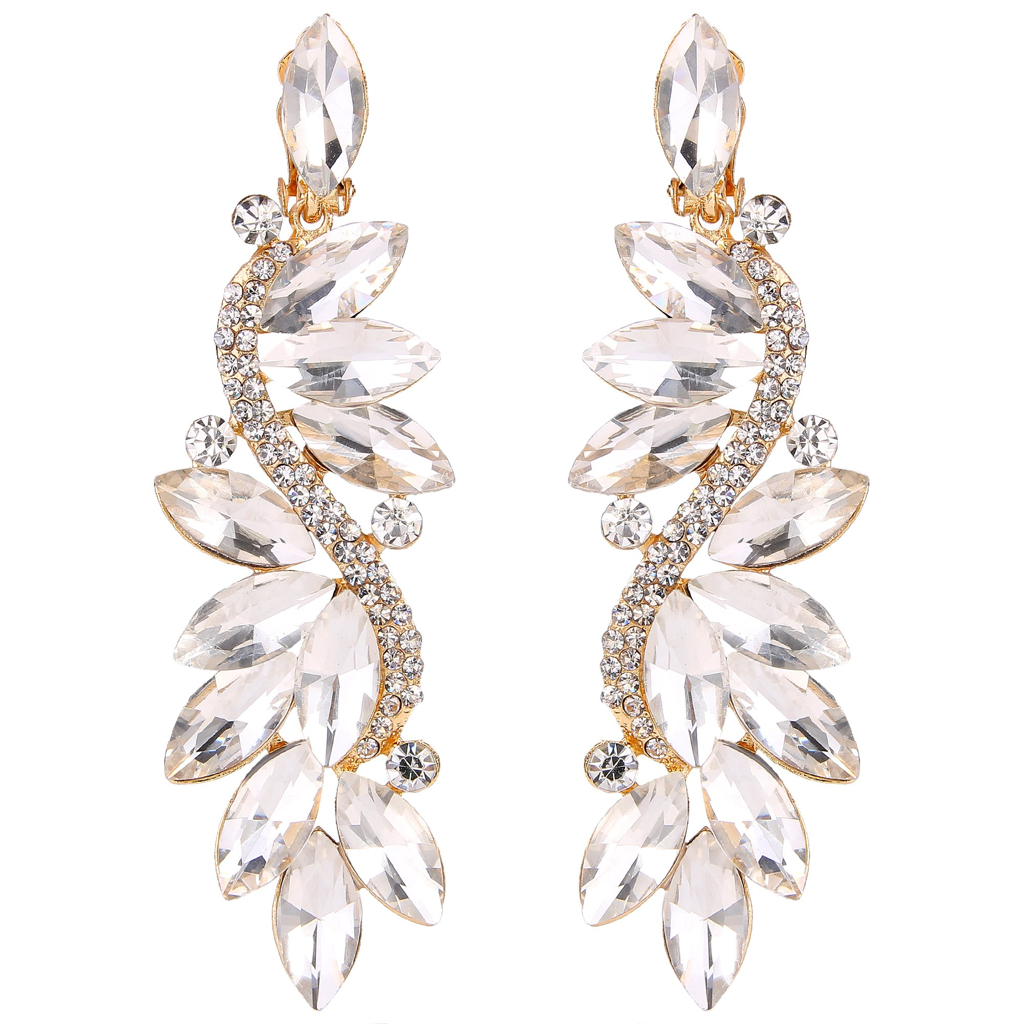 BriLove Gold-Toned Clip-On Dangle Earrings for Women Wedding Bridal Crystal Multi Marquise Filigree Flower Chandelier Earrings Clear
