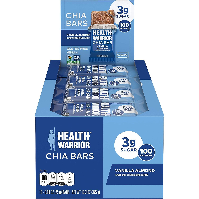HEALTH WARRIOR Chia Bars, Vanilla Almond , Gluten Free, Vegan, 25g bars, 15 Count