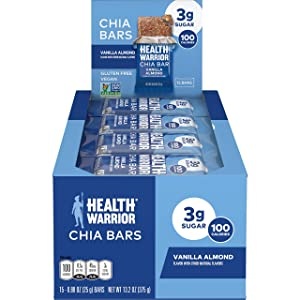 HEALTH WARRIOR Chia Bars, Vanilla Almond , Gluten Free, Vegan, 25g bars, 15 Count