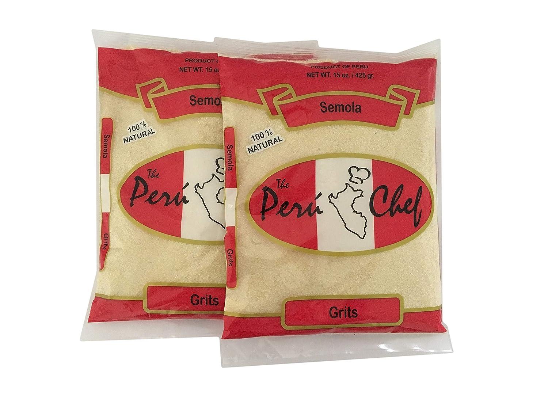 Amazon.com : 2 Bags- The Peru Chef Grits/Semola de Trigo 100% Natural 2x15 oz : Grocery & Gourmet Food