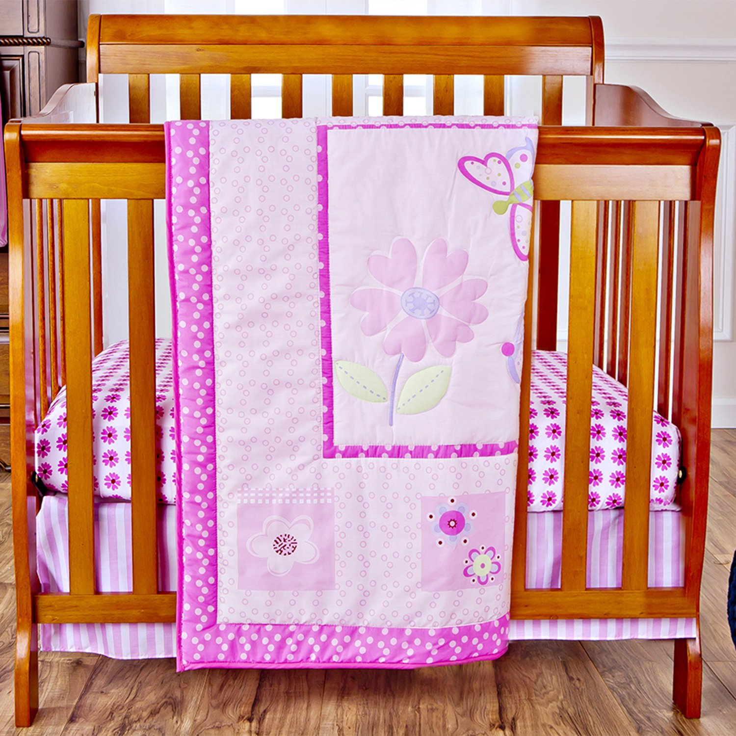 Amazon.com : Dream On Me 3 Piece Set Reversible Portable Crib Bedding Set,  Pink Butterfly And Flower : Baby