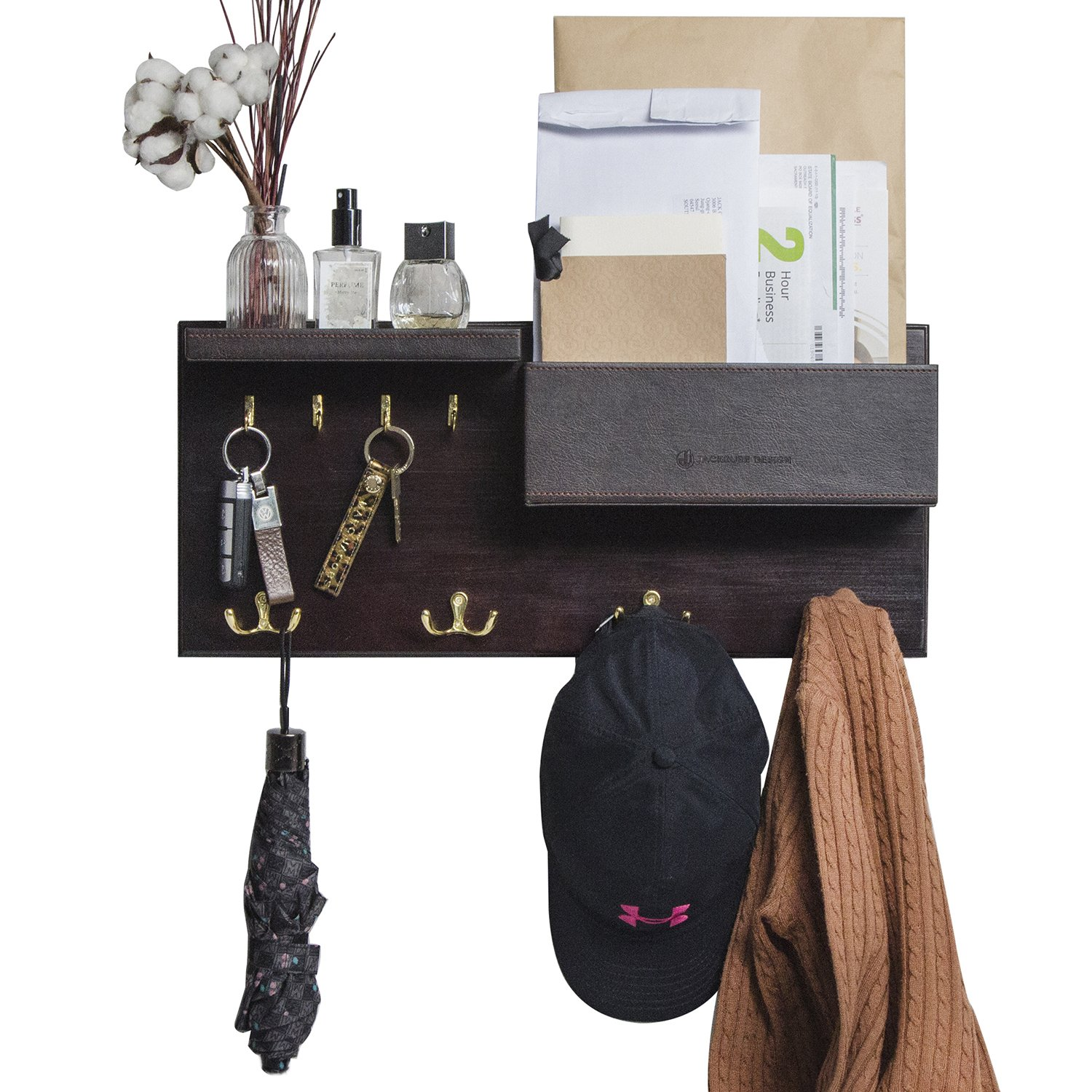 JackCubeDesign Entryway Coat Rack Wall Mount Key Holder Mail Envelope Hook Organizer Clothes Hat Hanger with Leather Shelf and Tray(Solid Wood, 20.5 x 9.1 x 3.4 inches) – :MK362B