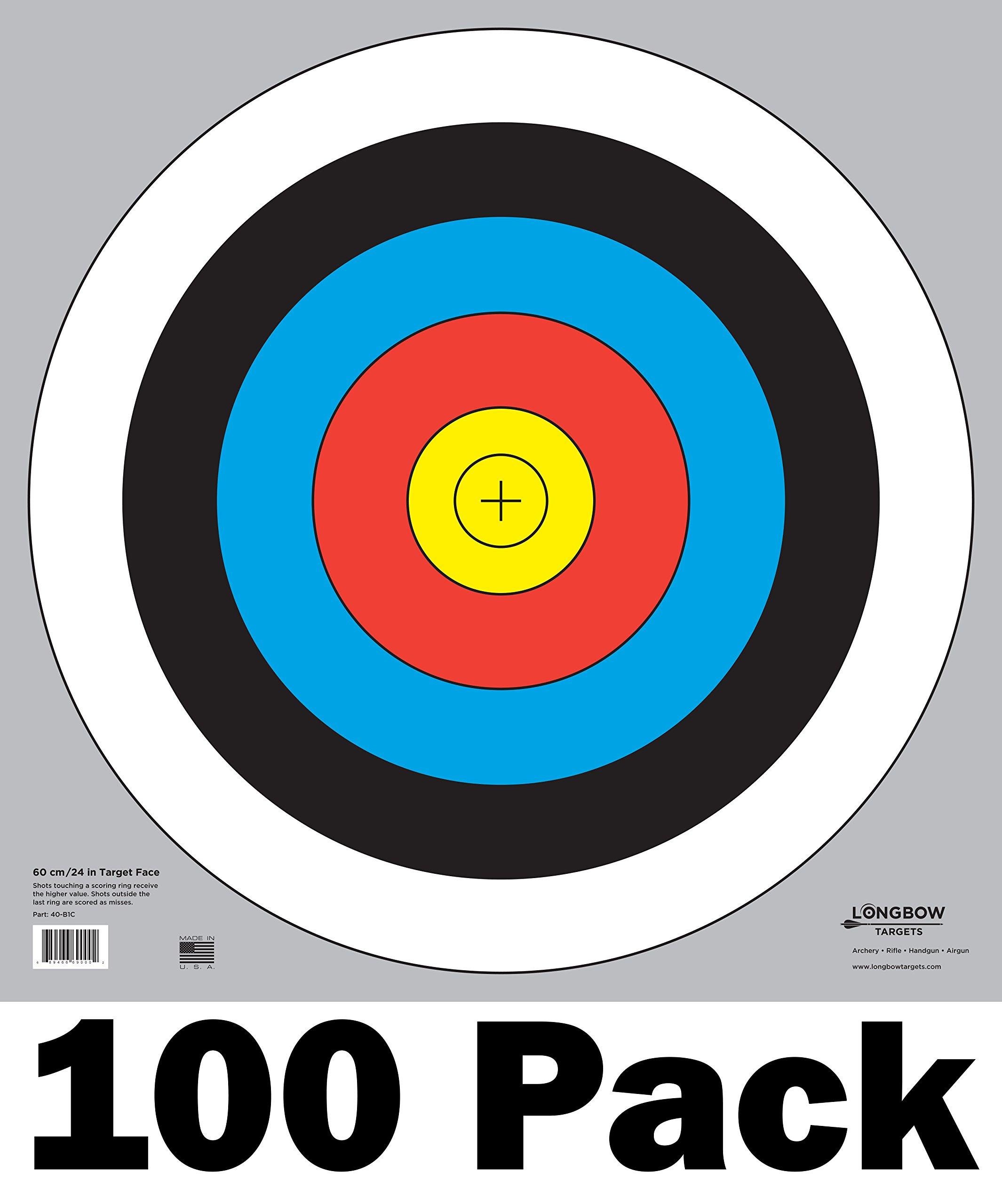 Longbow Targets 60 cm / 24 in Bullseye Archery and Gun Targets (100 Pack)