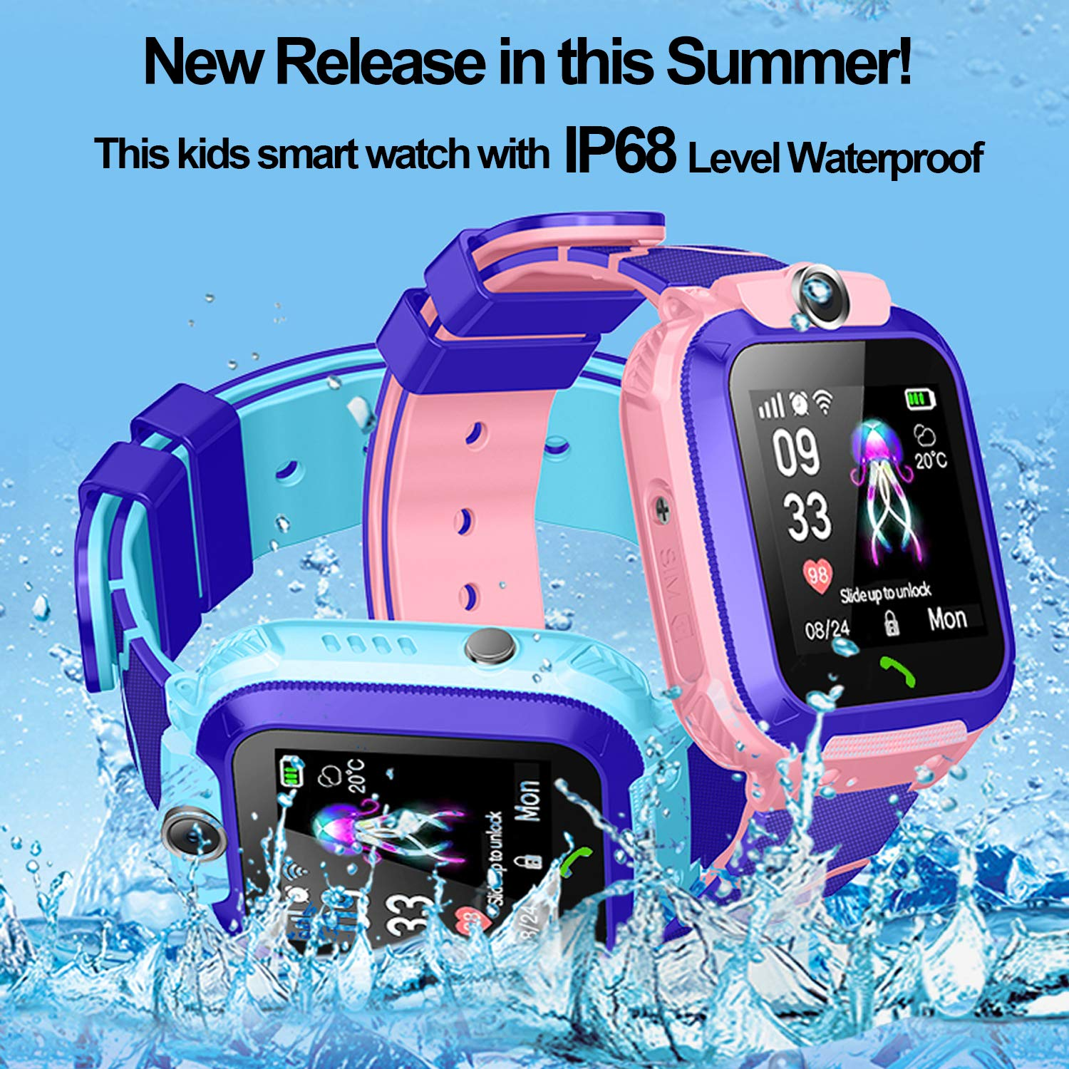 Amazon.com: Waterproof IP68 Kid Smartwatch Phone for 3-12 ...