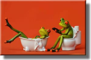 Frogs in the Bathroom Picture on Stretched Canvas, Wall Art decor, Ready to Hang!