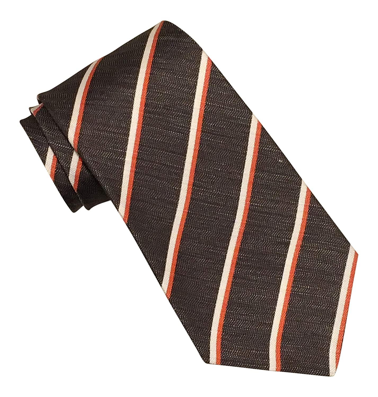 Kiton Russo Capri Charcoal Striped Silk Linen Blend 7 Fold Tie