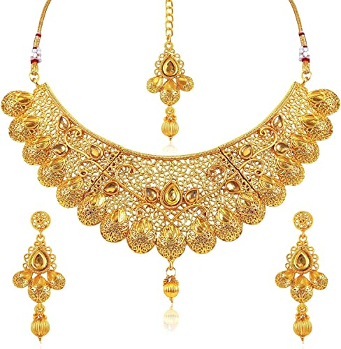 Bollywood fashion temple jewelry gold tone stone design necklace set /& earring
