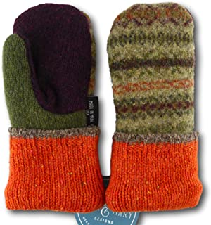 product image for Jack & Mary Designs Handmade Kids Fleece-Lined Wool Mittens, Made from Recycled Sweaters in the USA (orange/maroon/green, Small)