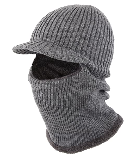 Home Prefer Mens Winter Neck Warmer Hat with Visor Plush Lined Tuque Beanie  Ear Warmer Face 03e1d2be996