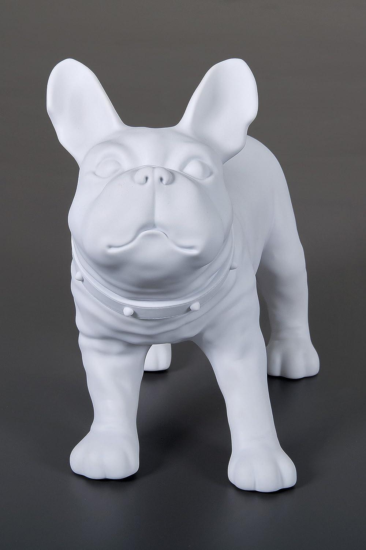 Dila GmbH Französische Bulldogge Dekofigur Dekohund Dekoartikel Hund Skulptur Figur (Weiß)