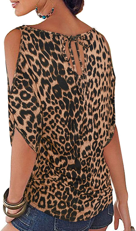 Ranphee Maglietta Donna Elegante Estivo Loose T-Shirt Bluse Spalle Scoperte Maniche a Pipistrello Camicie