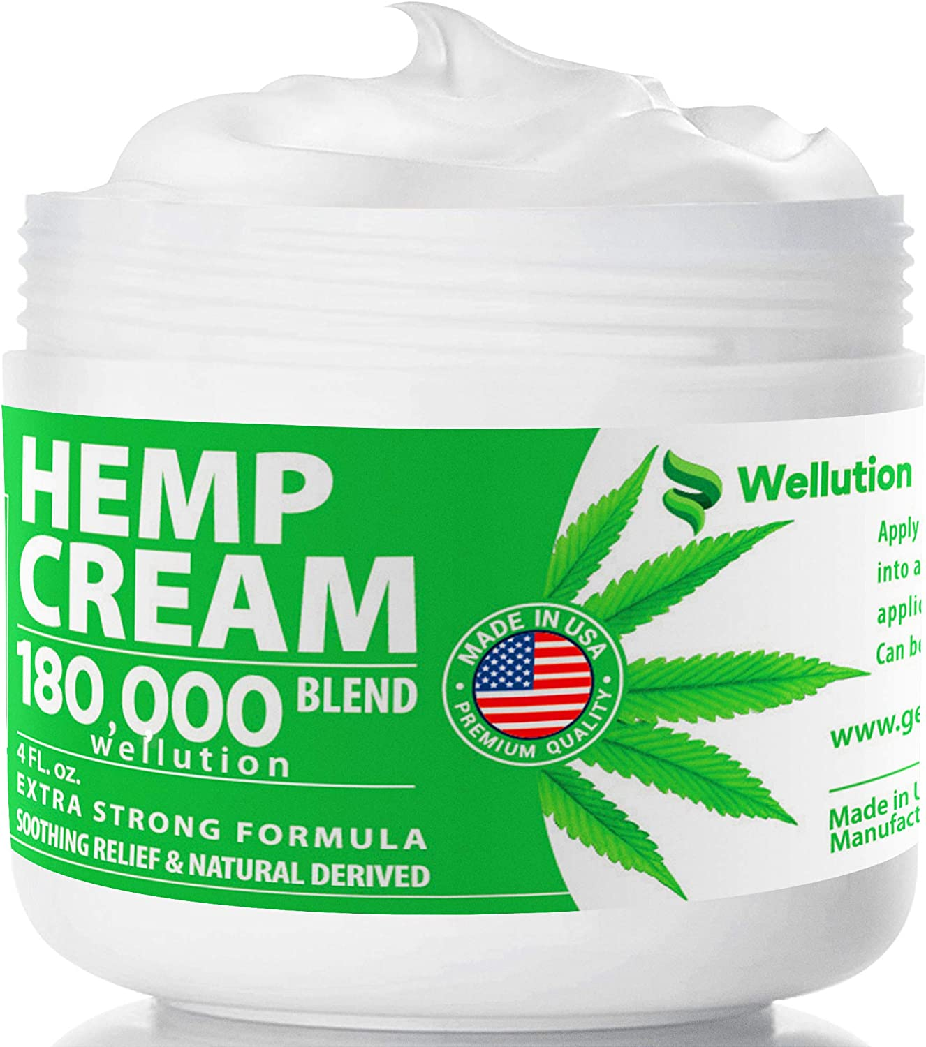 Hemp Cream 180,000 Blend – All-Natural Seed Oil Extract for Knee, Lower Back, Feet, Wrist and Joint Pain Relief - Extra Strength Massage Lotion with Arnica, Menthol and Organic Oils