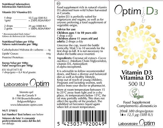 ⚡⚡⚡ OFERTA LIMITADA ⚡⚡ ⚡ Vitamina D3 100% vegana | Complemento alimenticio vegetal Premium | 500 IU | Vitamina D3 vegetal en gotas | Vitamina d3 ...