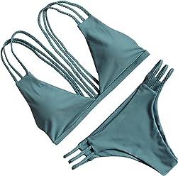 ff9bd517b810c OMKAGI Women Halter Fashion Sexy Swimwear 2 Pieces Swimsuit Bikini Set with  Small Strap