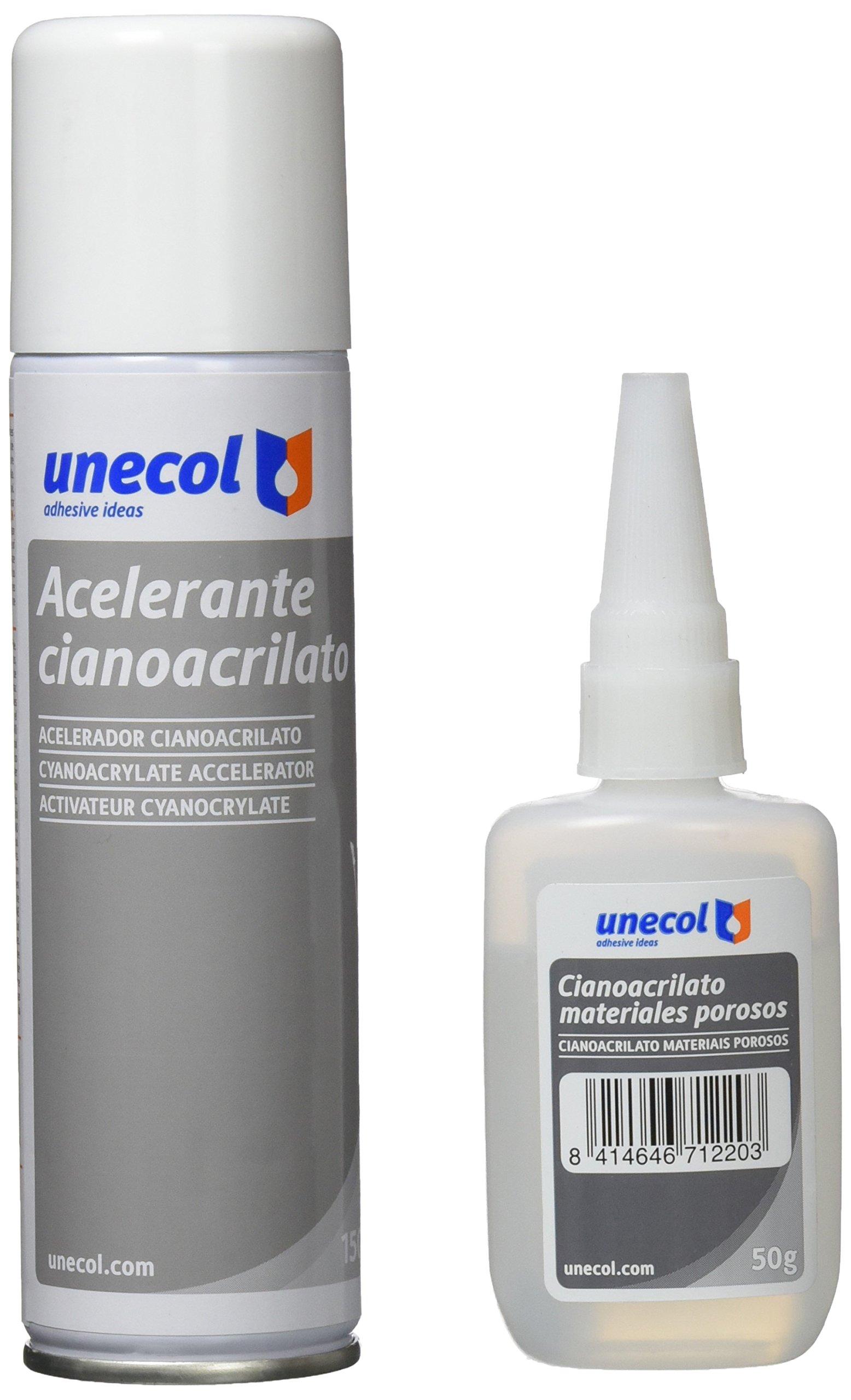 Unecol 7156 Kit accelerante + ciano para materiales porosos (botella) Transparente 50 g +