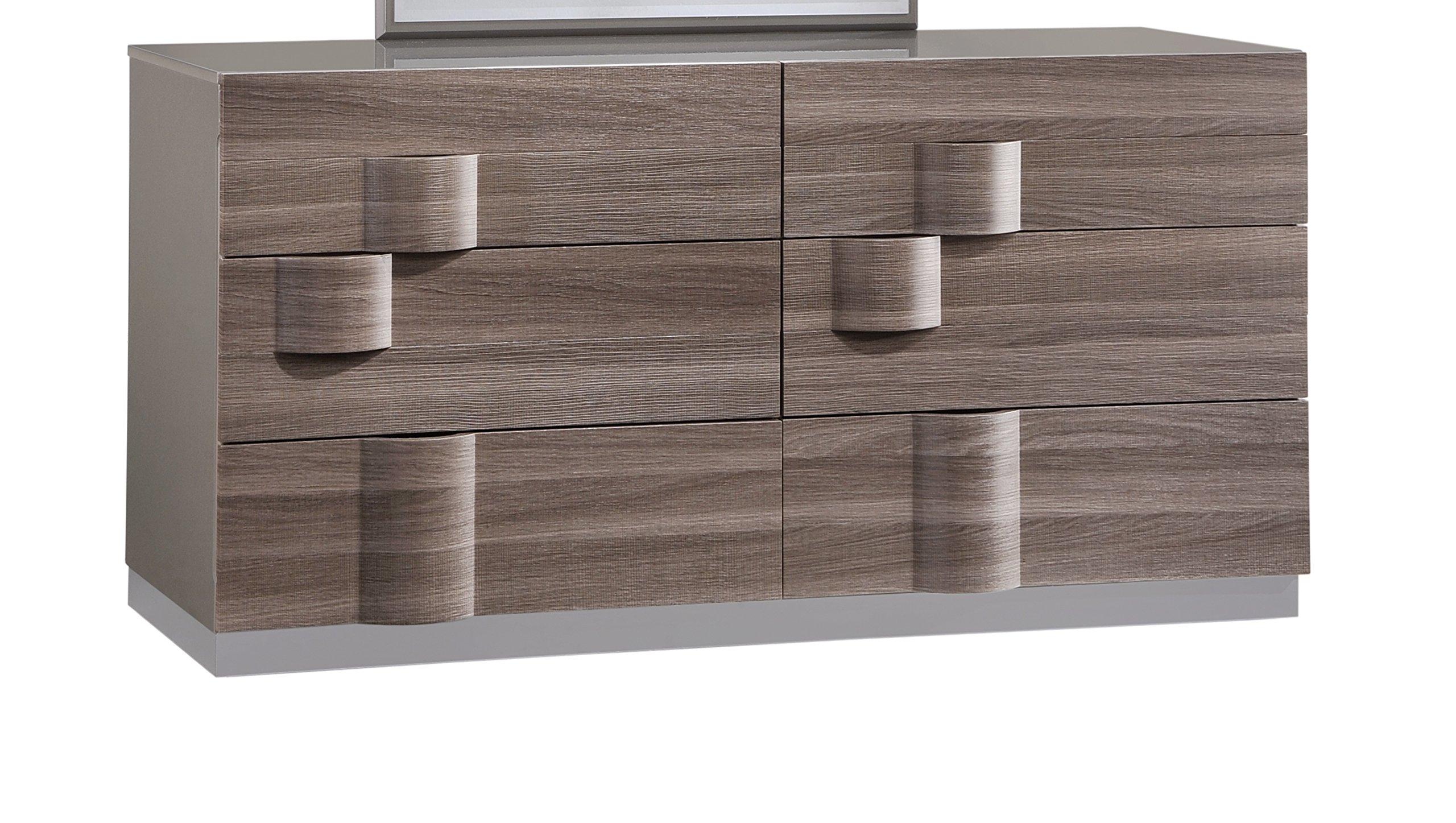 Global Furniture ADEL (119A)-DRESSER Dresser, 69'' x 20'' x 32'', Grey High Gloss & Zebra Wood