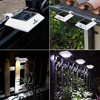 Luces Solares Jardín Exterior 4 LED Easternstar, Lámparas Iluminación Exteriores Nocturna con el sensor inteligente, Impermeable LED Focos para el jardín, el porche de la casa del campo, el patio, etc. Modelo