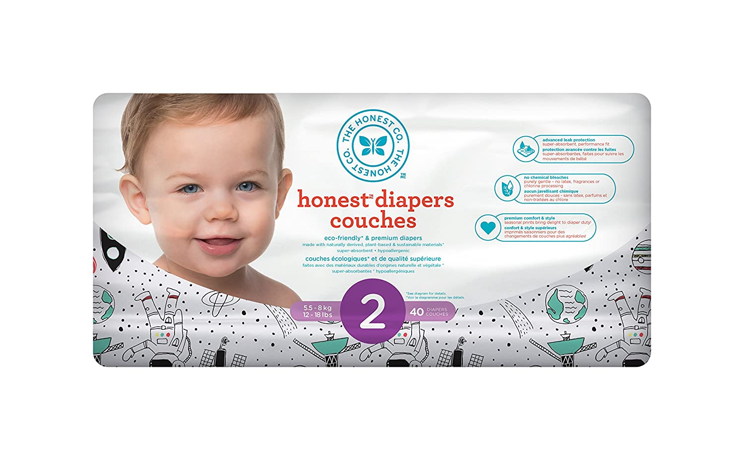 The Honest Company Disposable diapers, rose blossom print polybag, size 3, 34 Count H01DPR00D6S3C