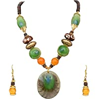 Sitashi Fashion Jewellery Hand Made Rajasthani Traditional Wear Peacock Feather Necklace Set