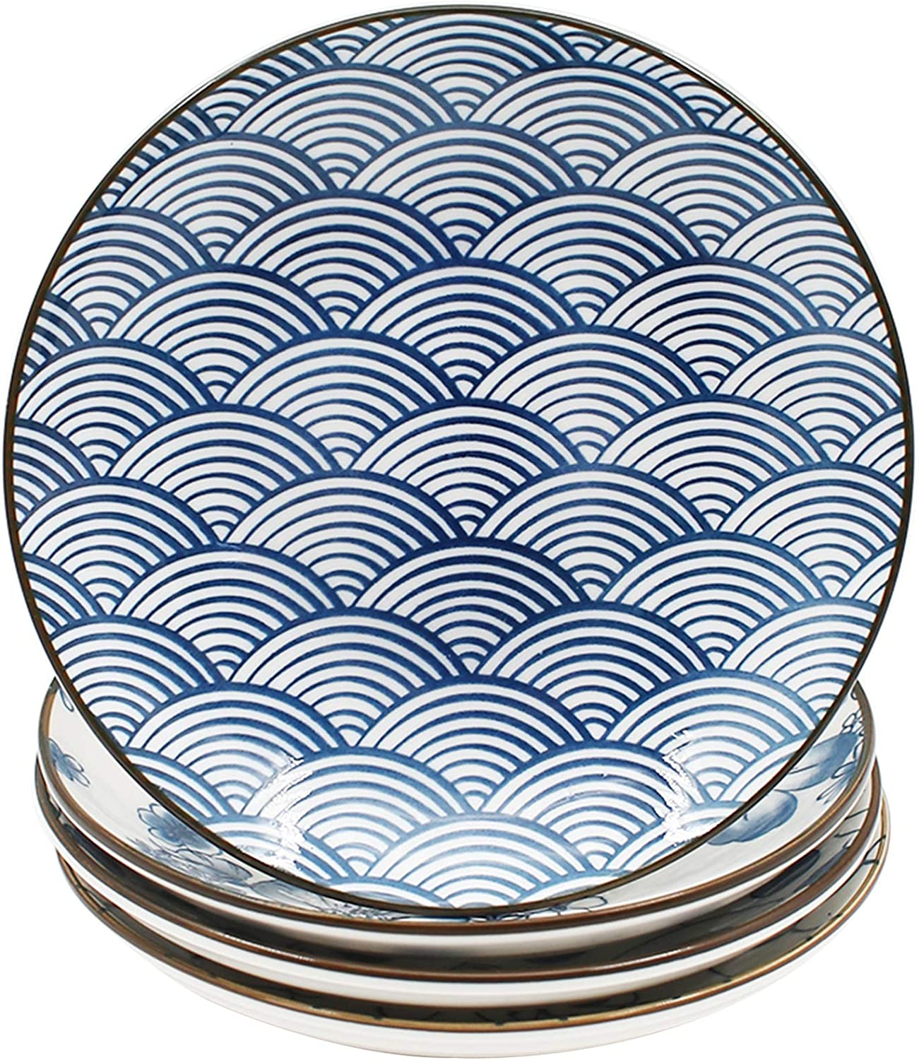 YALONG Ceramic Dinner Plate Set 7 Inch Appetizer Shallow Plates for Lunches, Cheese and Crackers Salad, Dessert Set of 4 Assorted Motifs for Christmas Gift