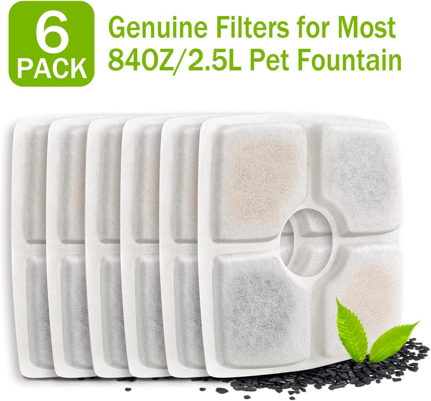 PG.KINWANG Pet Fountain Filters Replacement for 84oz/2.5L Automatic Pet Fountain Cat Water Fountain Dog Water Dispenser, Ion Exchange Resin and Coconut Activated Carbon,Pack of 6